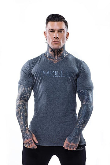 ANDREW V-Neck Bamboo T-Shirt Grey on Grey - GYMKILLER