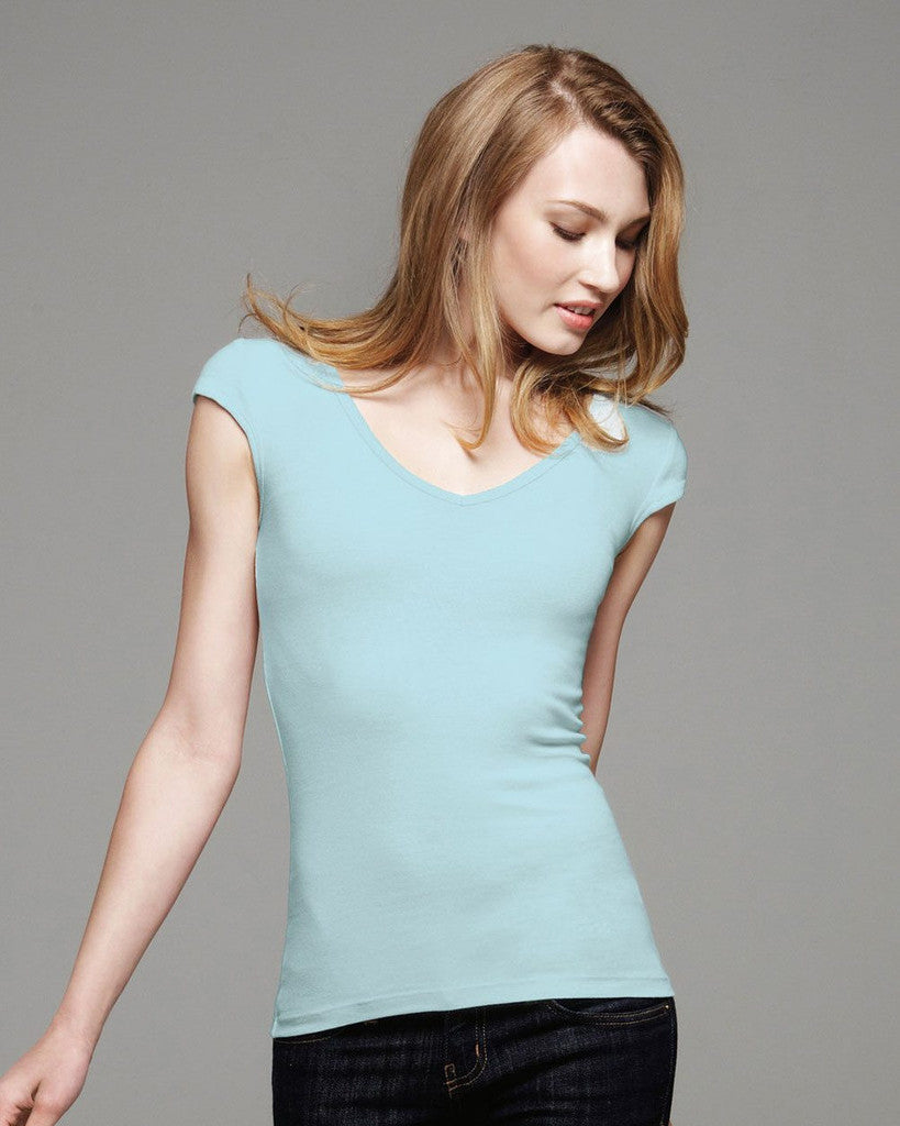 Sheer Rib Deep V-neck Tee
