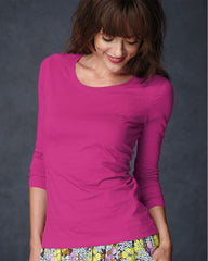 Semi-Sheer Long Sleeve Scoopneck T-Shirt