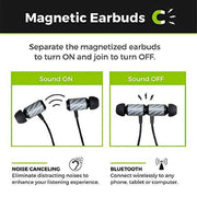 Carbon Fiber Magnetic Bluetooth Earbuds (Silver)