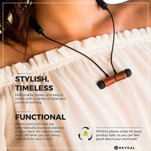 Magnetic Wood Bluetooth Wireless Earbuds - Necklace Style