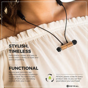 Magnetic Bamboo Bluetooth Wireless Earbuds - Necklace Style