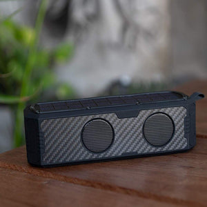 Carbon Fiber Solar Powered Portable Bluetooth Speaker & Phone Charger (Black)