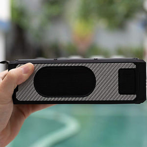Carbon Fiber Solar Powered Portable Bluetooth Speaker & Phone Charger (Silver)