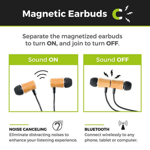 Magnetic Bamboo Bluetooth Earbuds - Necklace Style