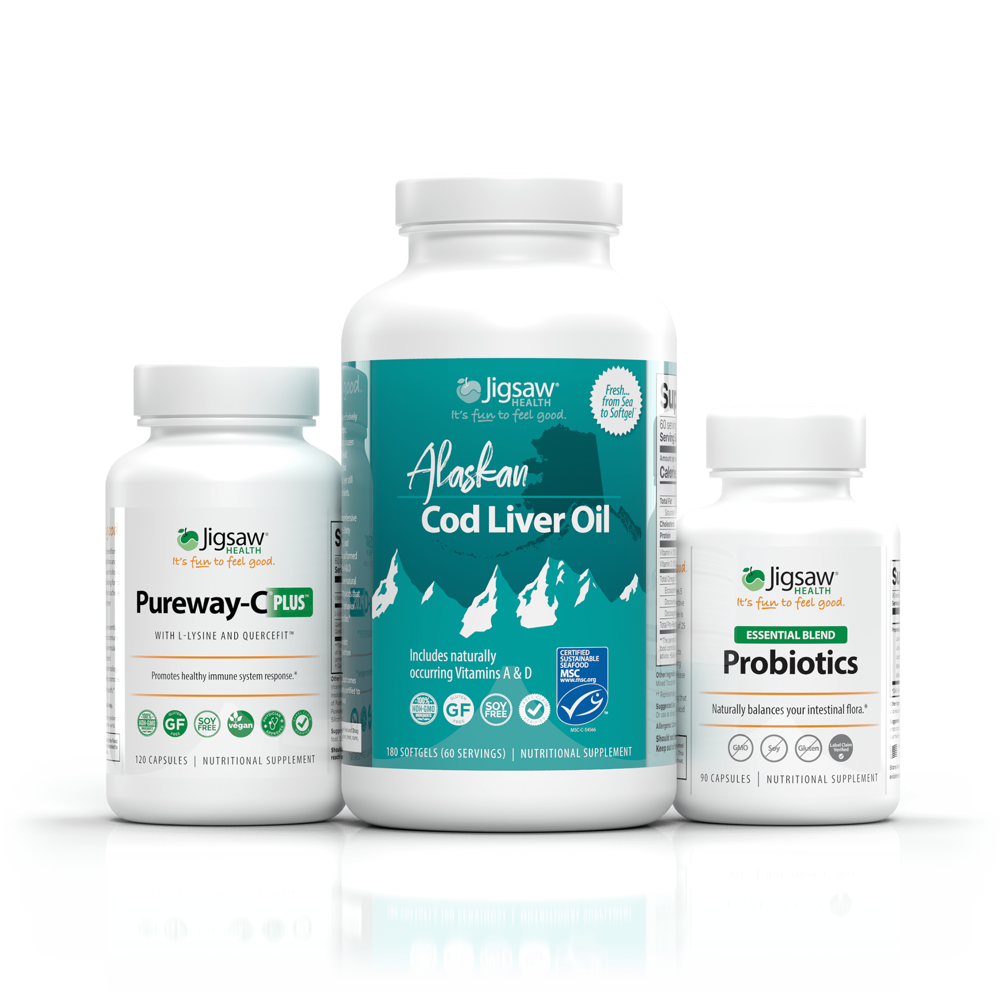 Jigsaw Immune Essentials Bundle (Vitamin C, Cod Liver Oil, and Probiotics)