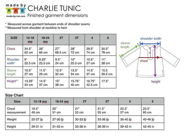 Charlie Tunic size & finished measurements charts