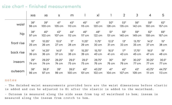 luna size chart - finished measurements