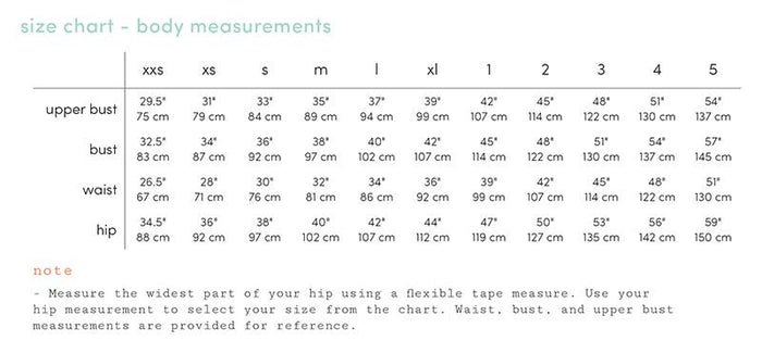 luna size chart - body measurements