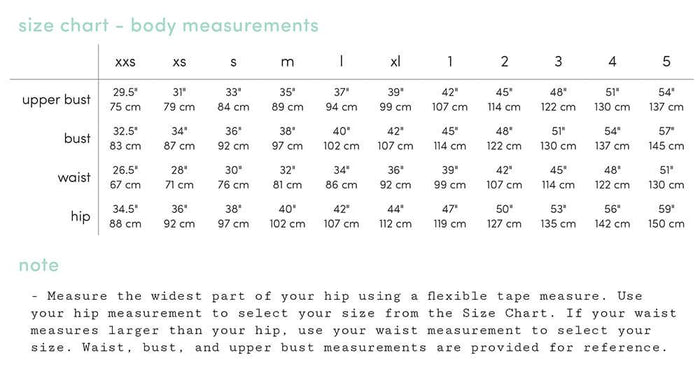 Rose - Size Chart - Body Measurements