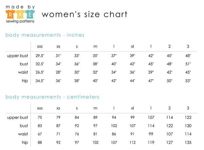 Made By Rae Women's Size Chart - metric + inches