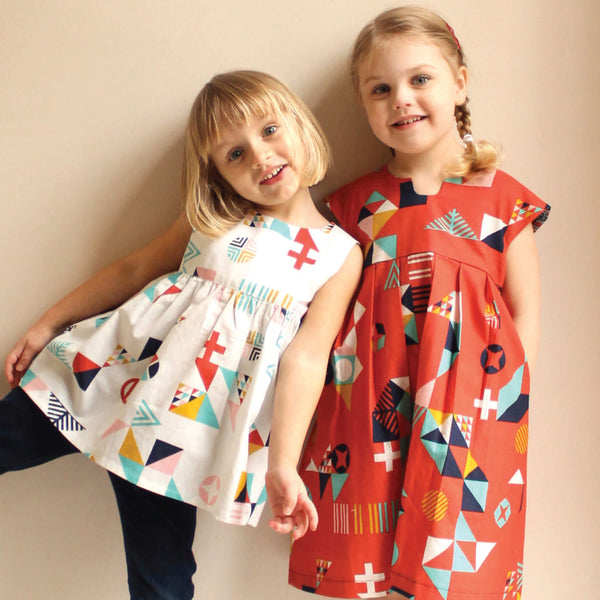 Made By Rae Geranium Dress Printed sewing pattern children's sizes 0-5 front cover