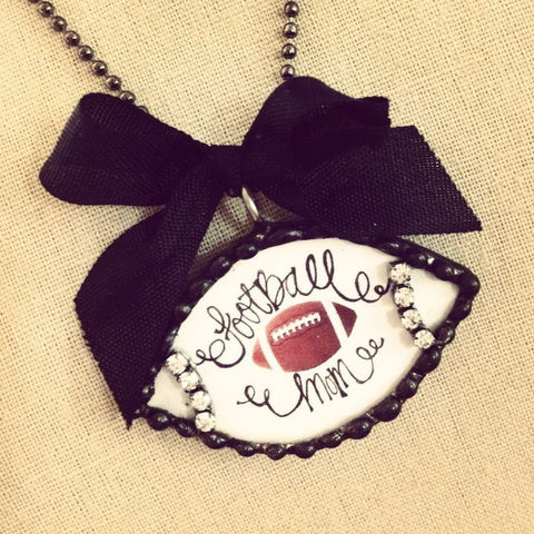 Football Mom with Rhinestone stitching soldered pendant