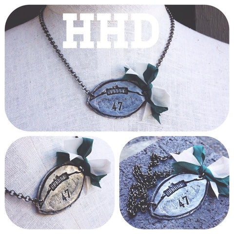 Stamped Football Custom # Pendant