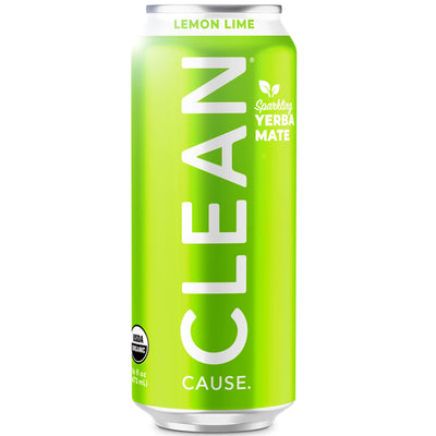 Clean Cause Organic Sparkling Yerba Mate - Lemon Lime