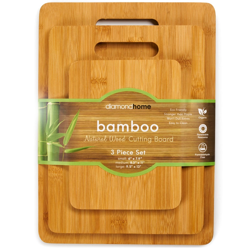 Diamond Home Bamboo Cutting Board Set - 3 Pcs.