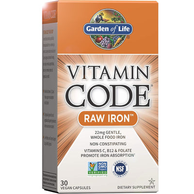 Vitamin Code Raw Iron 30 Vegan Capsules 22mg | Vegan Black Market