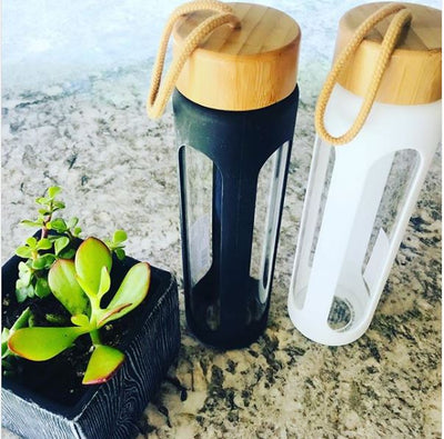 Bamboo Black Silicone Glass Water Bottle - 24 oz.