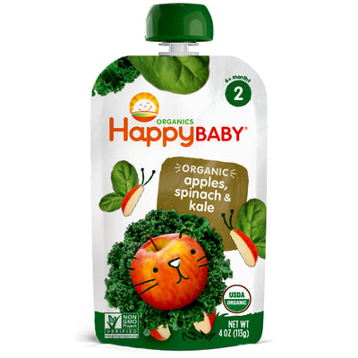 Happy Baby Organics Stage 2 Spinach Apples & Kale - 4 oz.