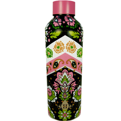 Pink Green Paisley Pattern Heritage Double Wall Stainless Steel Bottle - 17 oz.