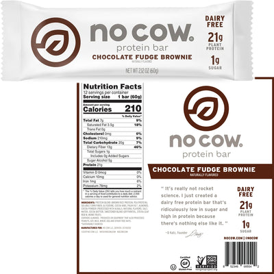 No Cow Protein Bar Chocolate Fudge Brownie