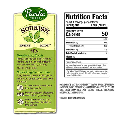 Pacific Foods Organic Cashew Milk Substitute Beverage Unsweetened- 32 fl oz.