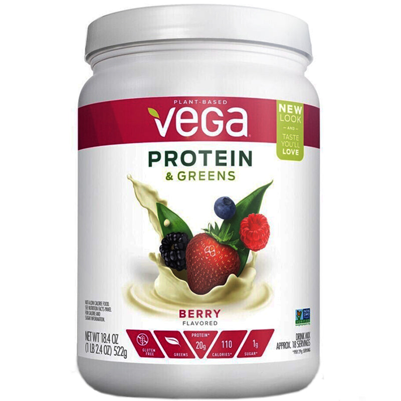 Vega Protein & Greens Plant-Based Berry Drink Mix Powder - 18.4 oz.