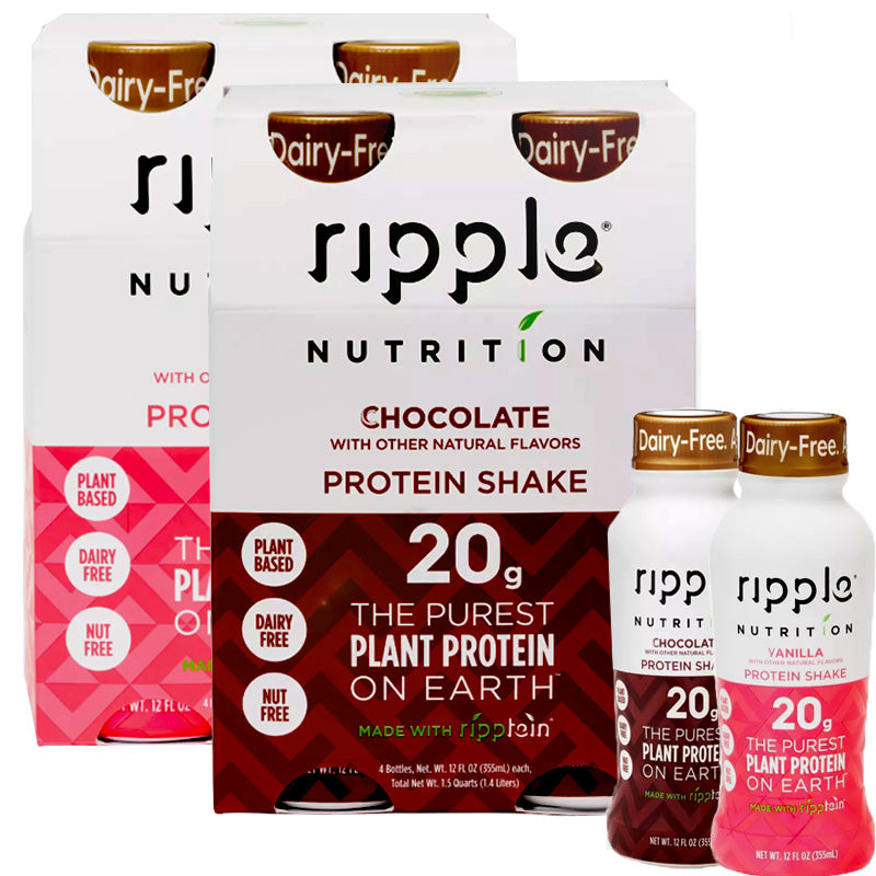 Ripple Nutrition Vegan Protein Shakes Chocolate & Vanilla Bundle- 2 ct.