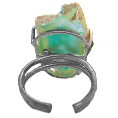 Green Natural Geode Ring - Size Adjustable