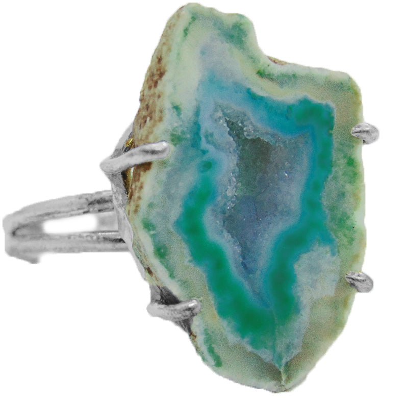 Vegan Black Market Green Geode Adjustable Ring