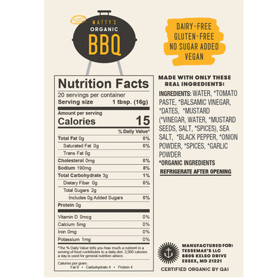 Tessemae's Organic No Sugar Added BBQ Sauce  - 10 fl oz