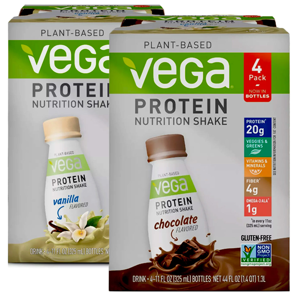 Plant Based Vega Protein Vegan Nutritional Shake Chocolate & Vanilla Bundle - 2 ct.