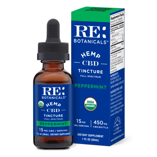 RE Botanicals 450mg Hemp Peppermint Tincture 15ml serving