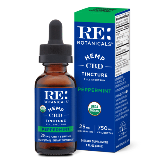 RE Botanicals 750mg Hemp Peppermint Tincture 25mg serving