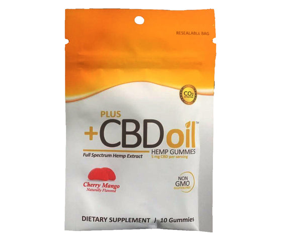 Plus CBD Oil Gummies 5mg 10Ct (50mg Total) - Cherry Mango