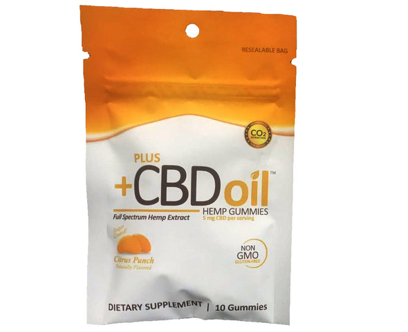 Plus CBD Oil Gummies 5mg 10Ct (50mg Total) - Citrus Punch