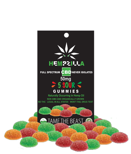 Hempzilla 50mg Gummy Sour 5pk