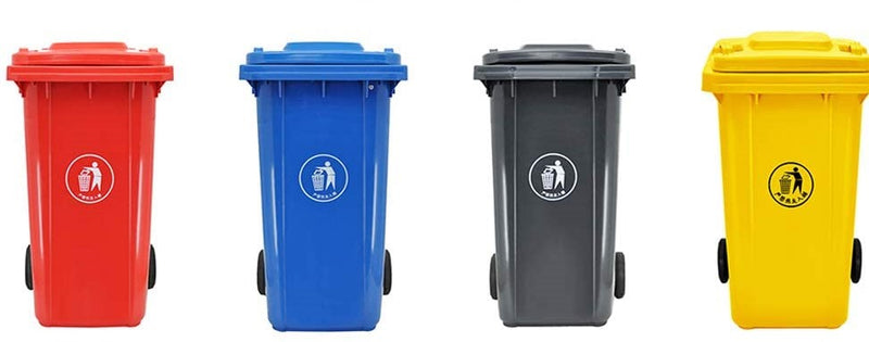 Trash Can, Outdoor, with Wheels and Cover, 240 L