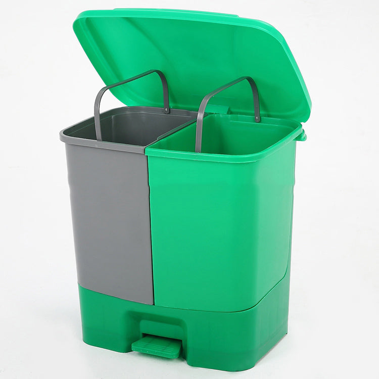 Dust Bin, Plastic, Rectangular, Center Pedal, Dual Compartment, 20 L