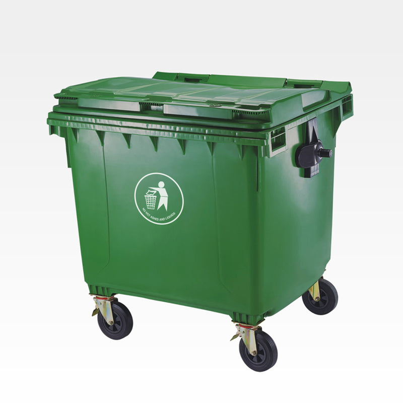 Trash Can, Outdoor, with Wheels and Cover, 1100 L