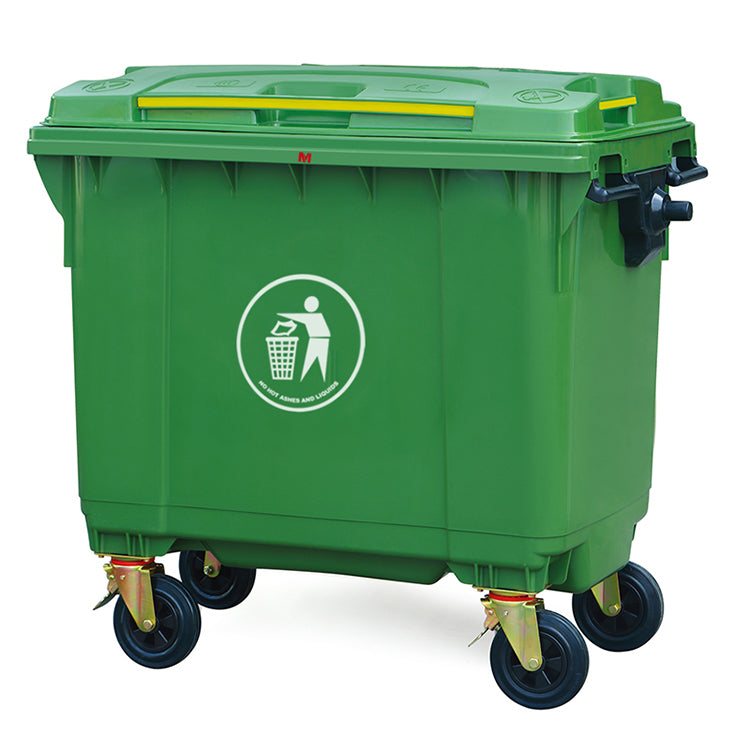 Trash Can, Outdoor, with Wheels and Cover, 660 L