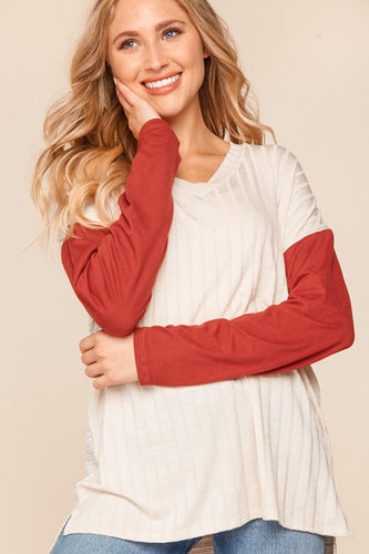 Ivory Top with Burgundy Sleeves