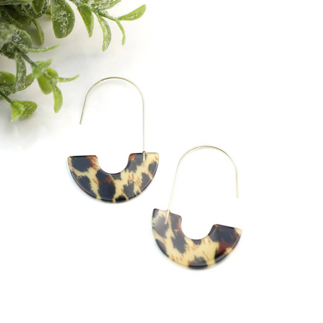 Tortoise Shell Half Moon Earrings