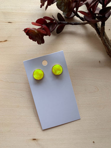 Yellow Druzy Stud Earrings