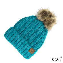 Load image into Gallery viewer, C.C. Fuzzy Lined Knit Faux Fur Pom Beanie