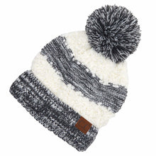 Load image into Gallery viewer, C.C. Popcorn Yarn Sherpa Knit Pom Beanie