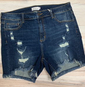 Plus Size Distressed Hem Denim Shorts