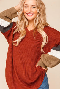 Rust V-Neck Sweater