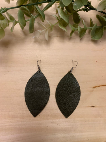 Leaf Shaped Leather Earrings