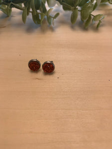 Small Red Druzy Stud Earrings